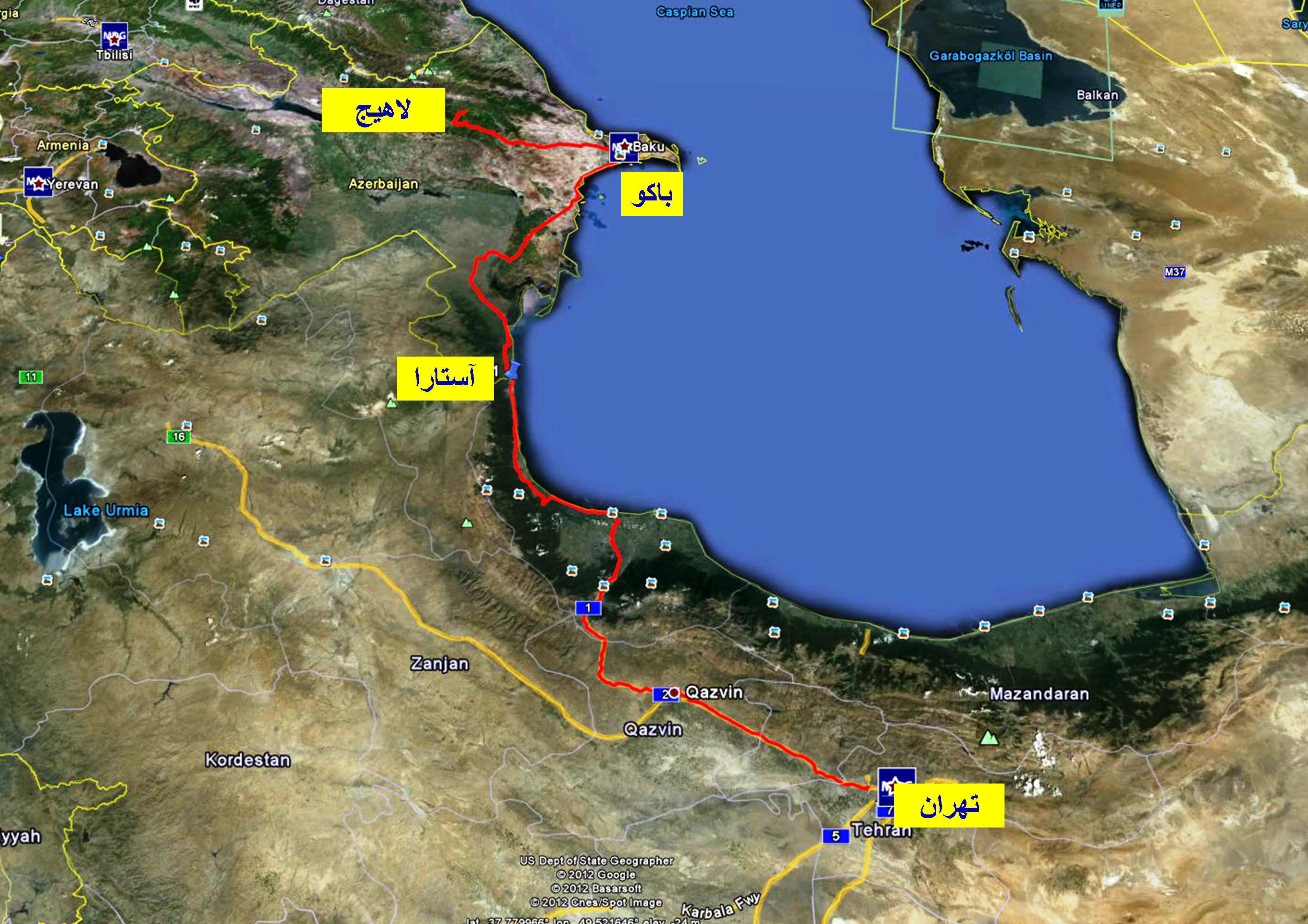 مسیر تهران تا روستای تاریخی لاهیج در کشور آذربایجان - تابستان ۱۳۹۱