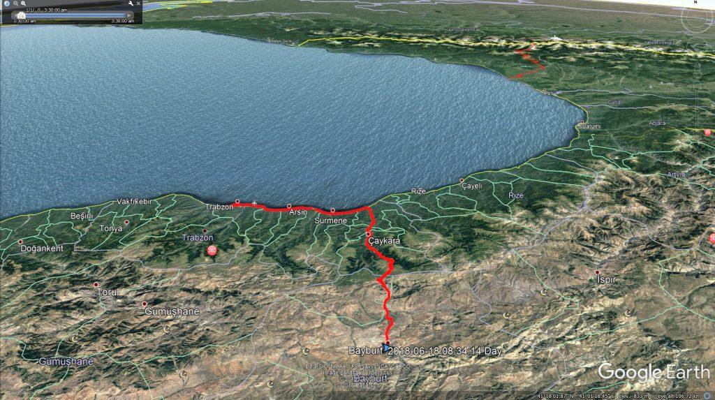 مسیر بایبورت به ترابزون