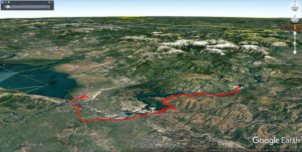 مسیر شهر اشکودر تا دریاچه کومانی در کشور آلبانی