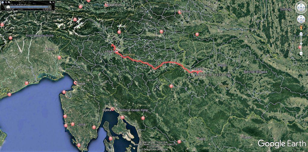 مسیر  زاگرب در کرواسی تا لیوبلیانا در اسلوانی