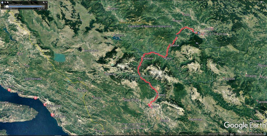 مسیر سارایوو به موستار در بوسنی هرزگوین