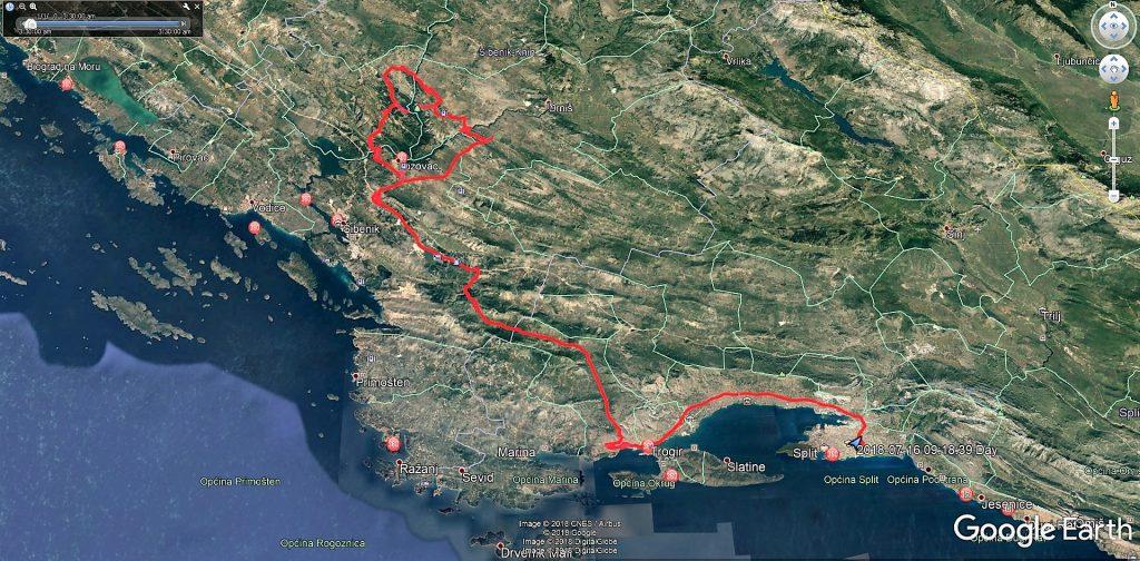 مسیر طی شده ما از شهر اسپلیت به پارک ملی کرکا در کرواسی