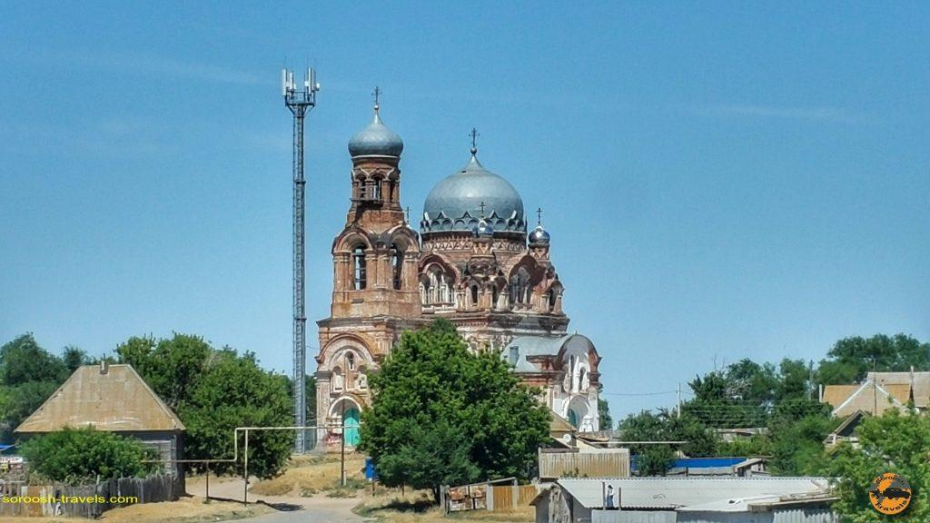 کلیسایی در مسیر آستراخان تا ولگوگراد در روسیه